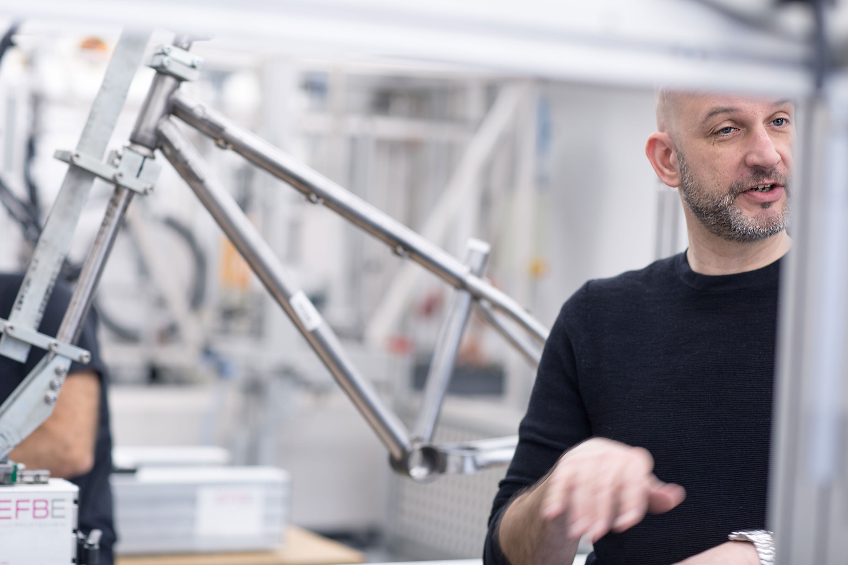 EFBE CEO Marcus Schroeder in the bicycle test lab